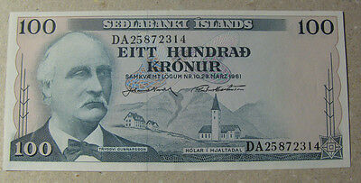 ICELAND#100 kr old banknote uncirculated.Issued 1961.