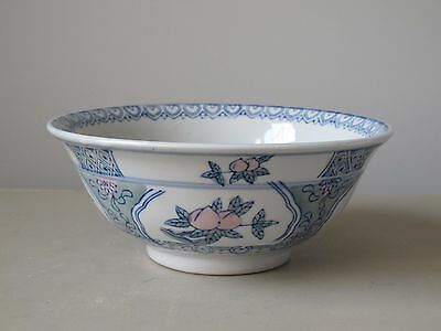 "Vintage Chinese Decorative Porcelain Bowl 8"" Blue & White w/ Pink Flowers"