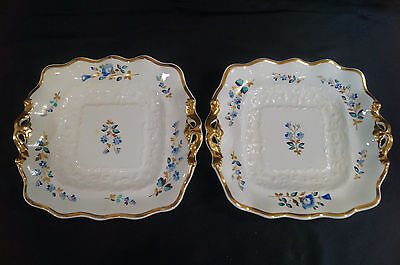 2 Mid 19th Century Hand Painted Floral & Gold Ridgway or Coalport Cake Plates