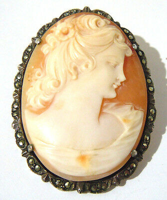 Vintage Silver Cameo Brooch/pendant With Marcasites.