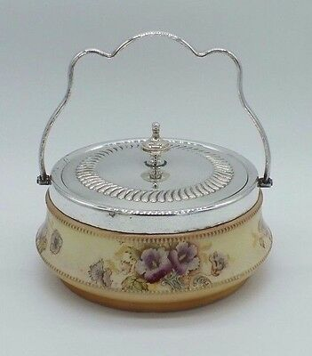 VINTAGE Art Nouveau Bowl with Silver Plated Lid S.F. & Co England c.1920