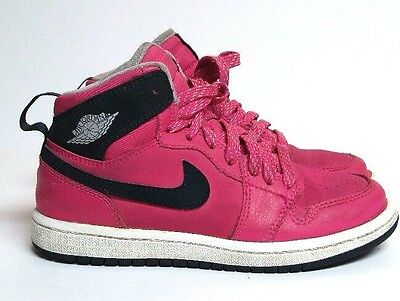 Nike Jordan Retro 1 High Shoes Sneakers Girls 13C Pink Black Grey 705321-609