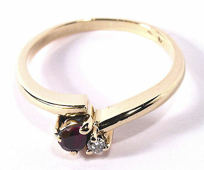 Attractive Diamond & Pear Ruby Estate Ring in 14K Yellow Gold