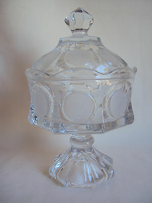 Vintage Fostoria Coin Pattern Clear Glass Compote Candy Dish With Lid