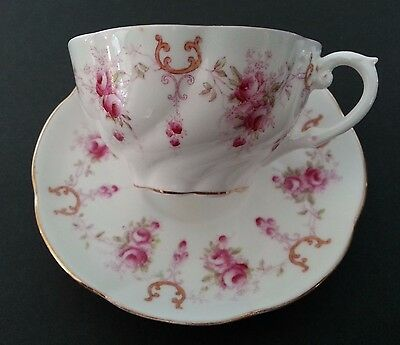 Aynsley Pink Roses & Elegant Golden Scroll Looping Pattern Teacup and Saucer