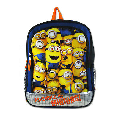 """New Despicable Me Assemble the Minions 16"""" Kids Boy Girl School Bag Backpack"""
