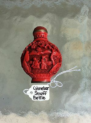 Vintage Chinese Cinnabar Snuff Bottle Signed