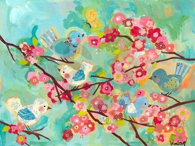 "NEW - Oopsy Daisy Cherry Blossom Birdies 72"" x 54"" Wall Art Murals That Stick"