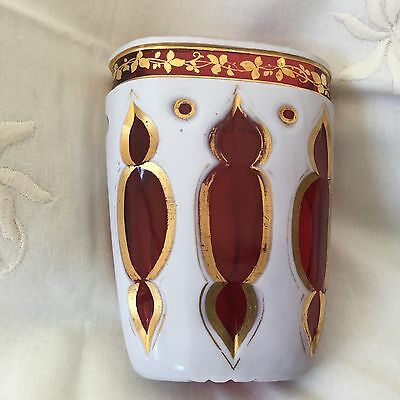 Czech Bohemian White Cut To Ruby Glass Posy Vase/Toothpick Holder