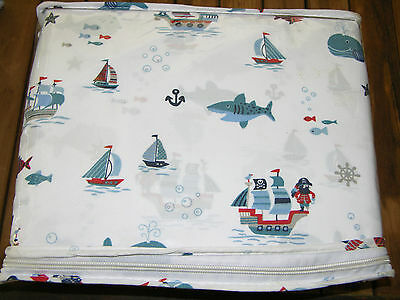 Authentic Kids PIRATES WHALES FISH BOATS Twin Sheet Set--NWT