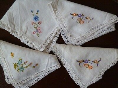 BJB. 3 Vintage ladies white handmade lace embroidered handkerchief dolls clothes