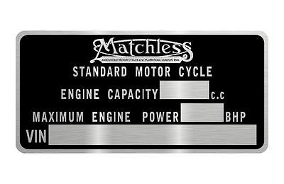 MATCHLESS MOTORCYCLE  data plate quality vin-tage new