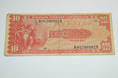 A very rare U.S $10 Military payment certificate series 661.