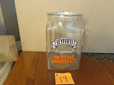 Vintage Seyfert's Original Butter Pretzels Glass Old Store Counter Jar ,general