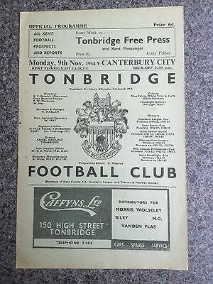 Football programme Tonbridge v Canterbury 1964
