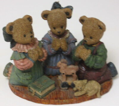 """Berry Hill Bears figurine 1997 """"For Where Two or Three Are Gathered"""" Matthew 18:"""