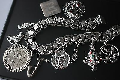 Vintage double chain bracelet signed 925 Sterling silver 10 charm collection