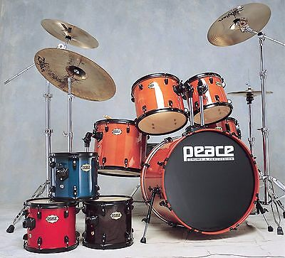 New Peace Onyx Drumset with maple/mahogany shells, stands and pedals