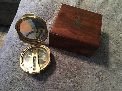 Vintage Brass Natural Sine Stanley London Compass Wood Case with Navy Anchor