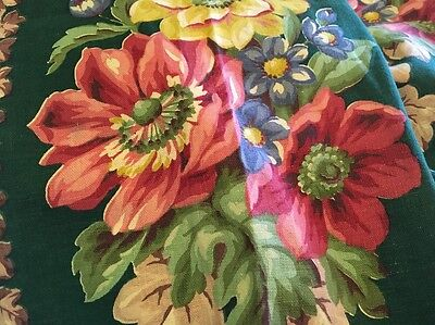 Moprimitivepast Antique Cotton Barkcloth Era Fabric Green Pink Cabbage Roses