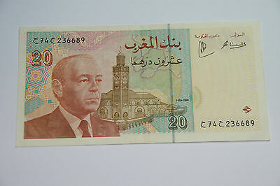 A morocco 20 Dirhams Banknote dated 1996.
