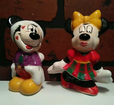 Vintage Mickey and Minnie Mouse Salt & Pepper Shakers