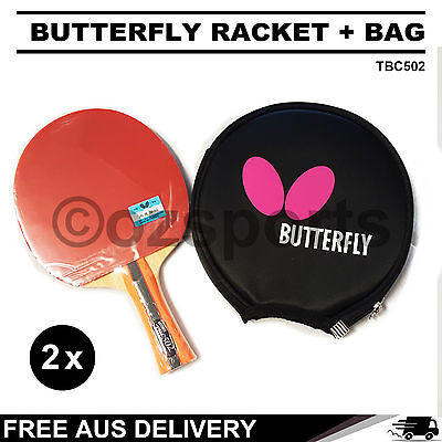 2x Butterfly TBC502 Table Tennis Racket Long Handle Paddle + Free Bag Package AU