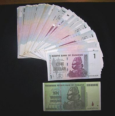 101 Zimbabwe banknotes 100 x 1 Dollar (bundle)+ 1 x 10 Trillion.