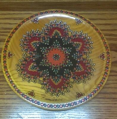 Vintage Hand Carved Wooden Floral Plate Made In Romania