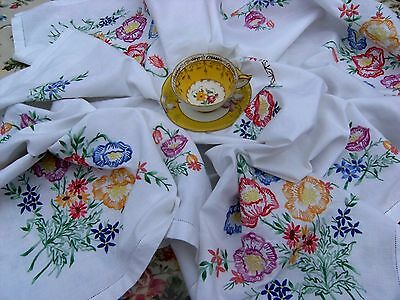 "Beautiful Vintage Style Large Embroidered White Cotton Tablecloth 52"" x 49"""