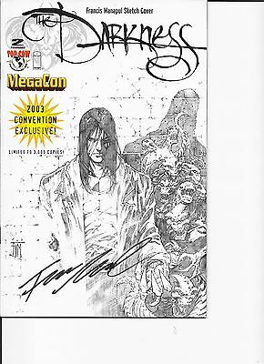 Darkness # 2 Volume 2 Megacon  Sketched cover Signed Francis Manapul COA