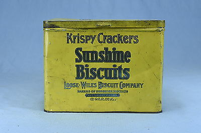 Antique ADVERTISING SUNSHINE BISCUITS KRISPY CRACKERS TIN LOOSE WILES OMAHA 2.5