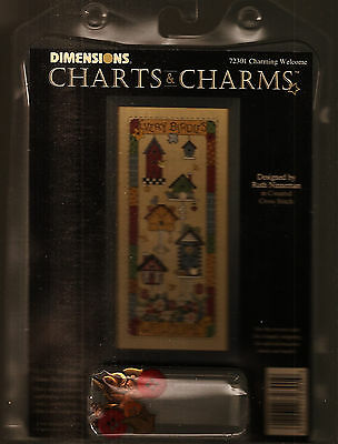 Charming Welcome- Array Of Birdhouses /dimensions Sealed Ccs Charts & Charms Kit
