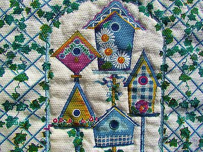 """NEW~24""""x21 Hand Quilted IVY Trellis BIRD HOUSES Retro Look KITCHEN WALL HANGING"""