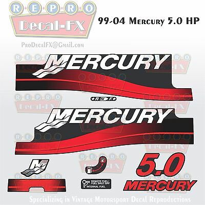 1999-04+ Mercury 5 HP Fire Red 2-Stroke Reproduction Marine Vinyl Decals 8Pc