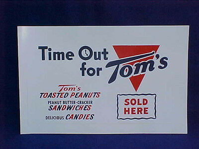 Tom's Peanut 1950s Store Sign, ( Time Out For Tom's ) Jar Sign, Lance Gordons