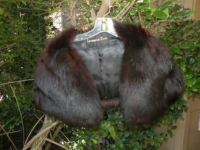 Vintage Fox Fur Stole Wrap Shawl Caplet Livingston Bros. Black Brown Maybe Dyed