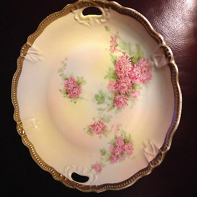 Hand-Painted Decorative Floral Plate with Gold Band Pre-Owned