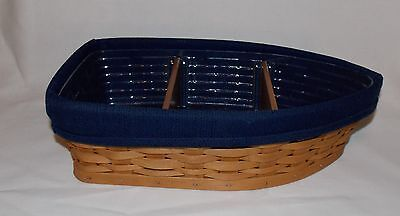 "LONGABERGER BOAT BASKET COMBO ""Row Your Boat"" Navy Blue Liner Protector Dividers"