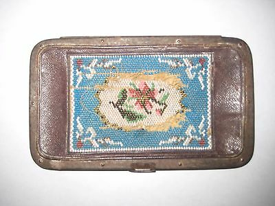 VINTAGE ANTIQUE Early  1900's  BREVETE  Leather  with Bead Work  Case