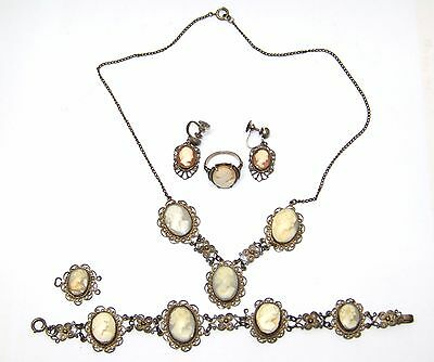 Vintage Cameo Necklace, Bracelet, Earring Ring Antique Art 800 Silver 11 Cameos