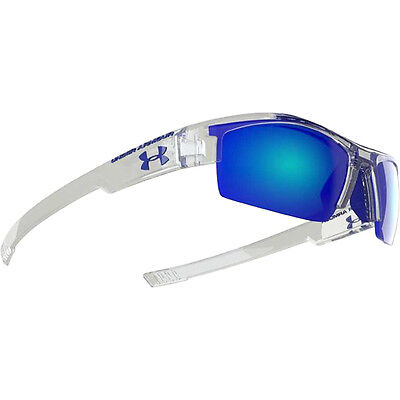 Under Armour Youth Kid Nitro Crystal Clear Frame, Gray w/Blue Lens Sunglasses