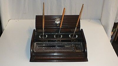 Antique Wooden Desk Tidy Inkwell Pen Stand with Engraved Silver Plaque 1899