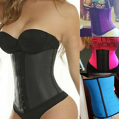 Women Body Shaper Latex Rubber Waist Trainer Cincher Underbust Corset Shapewear