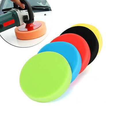 "5pcs 3""/4""/5""/6""/7"" Flat Sponge Buff Buffing Pad Polishing Pad Kit Car Polisher"