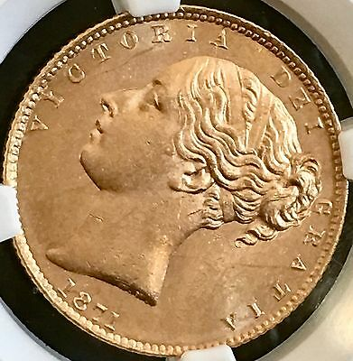 MS 64 Great Britain Victoria Young head 1 Soverign GOLD Coin / Top Grade 1871 UK