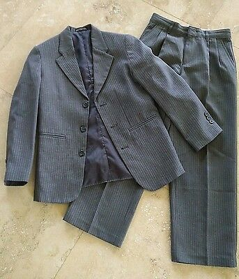 Boys: AMHERST COLLECTION Pinstripe Grey Formal Lined Suit - Size 10 Regular