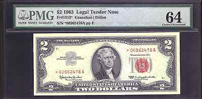 Fr#1513* $2 1963 Legal Tender Note,pmg 64 Choice Uncirculated