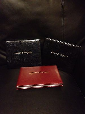 Real Leather Address and Telephone Book - Cathian - Black, Red or Midnight Blue