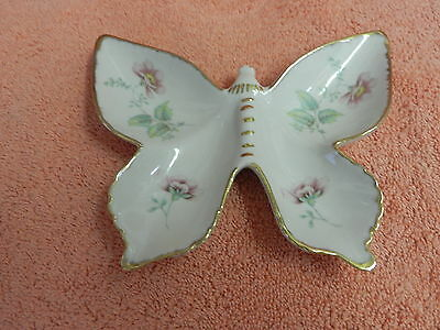 Vintage Collector's IBIS AVEIRO Porcelain Butterfly Portugal Floral w/Gold Trim